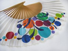 """Spanish hand fan painted with matching sheath """"Party"""" Paper Fans, Spanish, Just For You, Hand Painted, Etsy, Cool Stuff, Drawings, Hand Fans, Fabric"""