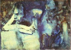 Frau stützte sich voraus , Aquarell von Pablo Picasso (1881-1973, Spain)