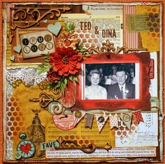Ted & Dina Scrapbook Page by Denise van Deventer using BoBunny Star-Crossed Collection. #BoBunny @strawbspatch