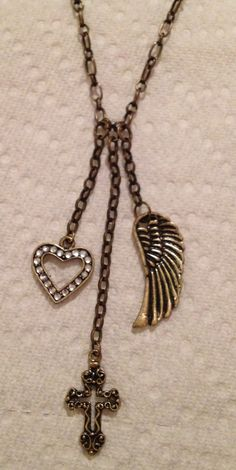 Angel wing dangle necklace