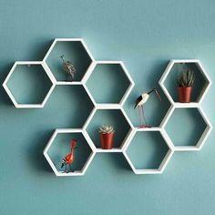 Retro hexagonal shelves: Honeycombs Decor, Hexagons Shelves, Decor Ideas, Accent Shelf, Honeycombs Shelves, Honeycombs Hexagons, Air Plants, Honeycombs Shelf, Decor Accent