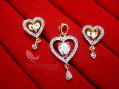AD74, Daphne Designer Heart Zircon Pendant Set for Women