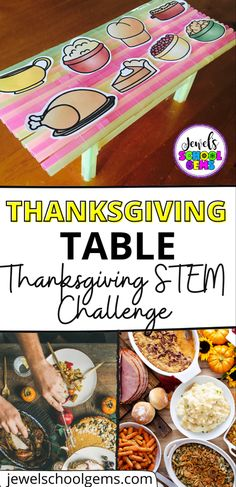 Looking for a fun Thanksgiving STEM Challenge? Check out this Thanksgiving Table STEM Activity for kids in the Elementary Classroom. Challenge your students to design and build a Thanksgiving table using drinking straws and tape. Challenge them to make sure it can fit eight (8) Thanksgiving dishes (pictures included). You can also modify the task and include any other materials. Click to learn more.
