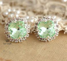 Mint green Stud earrings Mint Swarovski earrings by iloniti