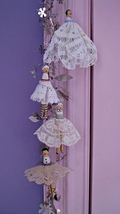Handmade clothes pin dolls with vintage doily skirts