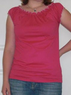 T-shirt to Peasant Top - Tutorial  (uses a serger - I wonder if it would be possible without one?)
