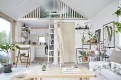 Villa style town homes in Stockholms Husarviken Bay Loft Door, Beautiful Small Homes, Swedish House, Tiny House Living, Tiny House Design, Scandinavian Home, Decorating Small Spaces, House Plans, House Ideas