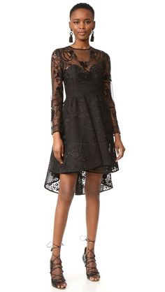 Intricate embroidery lends dark romance to this THURLEY dress, and the high-low hem creates a dramatic, swingy profile. Crew neckline. On-seam pockets. Sheer at yoke and long sleeves. Hidden back zip. Lined.