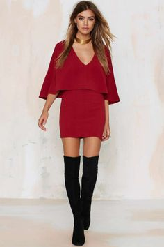Tuck and Cover Cape Dress - Clothes | Dark Romance | Dark Romance | Going Out | Solid