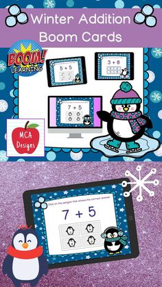 My Winter Addition Digital Task Card set includes 40 task cards which are accessed via Boom Learning. Each digital task cards focuses basic addition facts 0-20. All task cards are accented with bright colors and winter themed graphics. #teacherspayteachers #tpt #winter