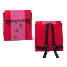 @WorldCrafts {South African Satchel ~ Wezandla ~ South Africa} Beaded butterflies add fun detail to this bright children's backpack, perfect for toting books or toys. The backpacks are hand-beaded by women from the Wezandla artisan group in South Africa and help support them as they come out of poverty. #fairtrade