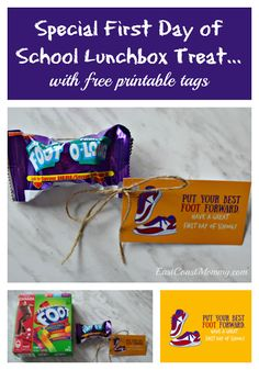 This is an easy, inexpensive and fun #FirstDayOfSchool Treat. It would be fantastic to share with the class too. #BackToSchool 100 Days Of School, First Day Of School, Back To School, Lunch Box Notes, School Lunch Box, Free Printable Tags, Free Printables, School Treats, Lunches