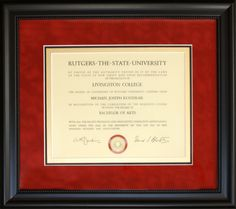 Diplomas certificates custom picture framing nj certificate rutgers diploma framed with red suede mat gold accent inner mat and a classic solutioingenieria Image collections