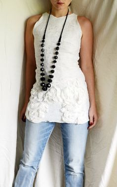 SALE - Nuno felted eco top tunic tank - White peonies OOAK - last sale 30 percent off