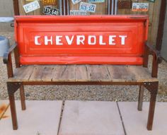 Vintage Chevrolet Tailgate Bench Reclaimed Barn Wood and Metal Rustic Steel Industrial Work bench Shop Garage Decor Office Mountain Cabin by CandTCustomLures on Etsy