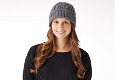 Grey Cable Knit Beanie | TOMS