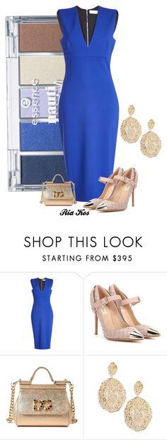 """blue dress"" by ria-kos ❤ liked on Polyvore featuring Victoria Beckham, Valentino, Dolce&Gabbana and Aurélie Bidermann"
