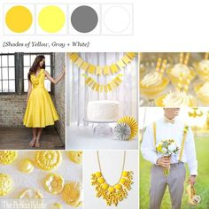 {Lemon Zest}: Shades of Yellow, Gray + White http://www.theperfectpalette.com/2012/09/lemon-zest-shades-of-yellow-gray-white.html