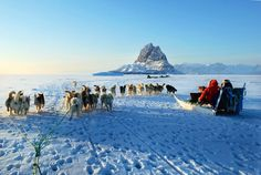 "Mush! #Greenland's sea ice is vanishing—and with it a way of life. Says one local, ""A man doesn't feel like a man if he doesn't have dogs."" Here, several dog teams ply the ice on the way to Uummannaq."