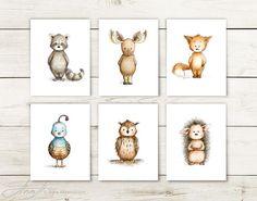 Set of 6 Woodland Animal Prints Printable Art Animal