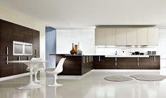 kitchen, Modern Kitchen Design Ideas With Brown Kitchen Cabinet Design And Kitchen Furniture Ideas With Kitchen Island Design And Brown Kitchen Wall Units Design With White Dining Table Design And Round Dining Sets: Stunning Modern Kitchen Cabinet Furniture for Contemporary Kitchen
