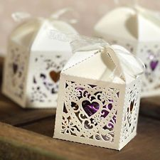 25 Ivory Lazer Cut Square Heart Wedding Party Favor Boxes w/ Ribbon