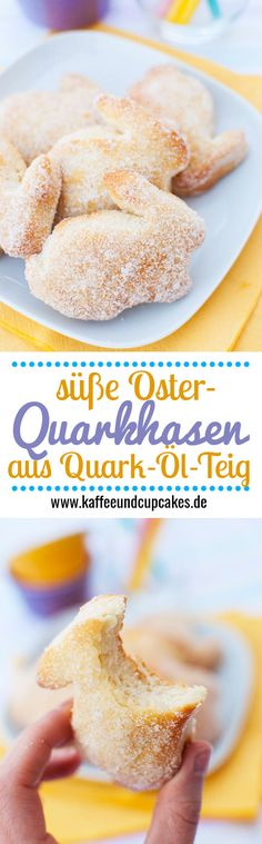 Sweet cottage cheese buns (quark pastry made from cottage cheese oil dough)- Süße Quarkhasen (Ostergebäck aus Quark-Öl-Teig) Sweet quark bunnies (Easter biscuits made from quark oil dough) for cutting out - Easter Recipes, Brunch Recipes, Sweet Recipes, Dessert Recipes, Easter Biscuits, Cookies Et Biscuits, Candied Orange Slices, Cheese Buns, Homemade Soft Pretzels