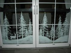 Snowy forest doors by Window-Painting on DeviantArt Christmas Window Display, Christmas Window Decorations, Winter Christmas, Christmas Home, Christmas Crafts, Christmas Ornaments, Christmas Window Paint, Box Decorations, Christmas Windows