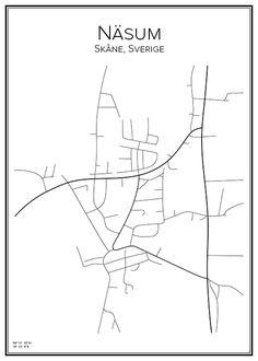 Näsum. Bromölla kommun. Skåne. Sverige. Map. City print. Print. Affisch. Tavla. Tryck. Stadskarta.
