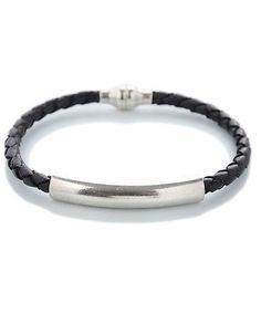 Mens Woven Leather Bracelet Black Crafted in Spain