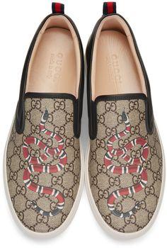 Gucci Black Snake Dublin Slip-On Sneakers - Gucci Sneakers - Ideas of Gucci Sneakers - Gucci Black Snake Dublin Slip-On Sneakers Sneakers N Stuff, Gucci Shoes Sneakers, Sneakers For Sale, Sneakers Fashion, Men's Shoes, Shoe Boots, Jordans Sneakers, Running Sneakers, Slippers