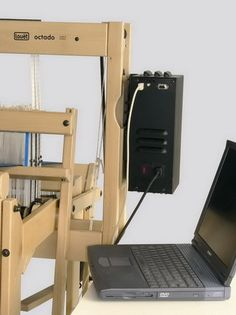 Louet Octado 8 Harness Dobby loom shown with electronic interface and laptop