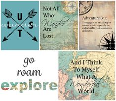 Travel Art Gallery 5 Printable Instant Downloads, Wanderlust, Adventure, Not All Who Wander Are Lost, What A Wonderful World, Explore