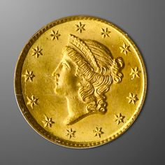 Measuring only 13 millimeters in diameter, the Liberty Head Gold Dollar Type I (1849-1854) has the distinction of being the smallest of the U.S. gold dollar coins.