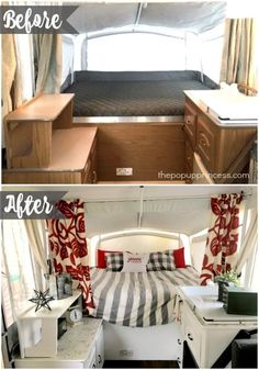 Pop Up Camper Makeover Tiffany's Pop Up Camper Makeover - You won't even believe this transformation! I love that red accent color!Tiffany's Pop Up Camper Makeover - You won't even believe this transformation! I love that red accent color! Popup Camper Remodel, Travel Trailer Remodel, Camper Renovation, Camper Remodeling, Rv Campers, Camper Trailers, Camper Van, Travel Trailers, Happy Campers