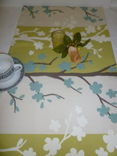 Table Runner Retro Blue Green Funky Cotton (54 137cm)    This Table Runner is 100% Cotton.    137cm x 38cm wide (54 x 15 approx)    PRODUCT