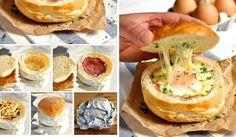 Pečené bulky plněné sýrem,vajíčkem a šunkou