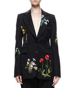 Floral-Embroidered Tuxedo Jacket, Black by Stella McCartney at Bergdorf Goodman.