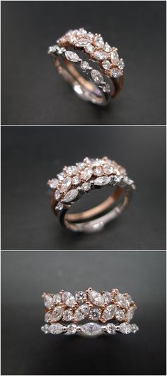 Set of TWO Marquise Diamond Engagement Ring and Wedding Band, Diamond Wedding Band, Diamond Ring, Diamond Band, Marquise Diamond Ring, Rings