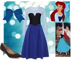 Ariel cosplay for Halloween. Disney's Little Mermaid blue dress costume. Fashion created by jwalkasha on polyvore.com