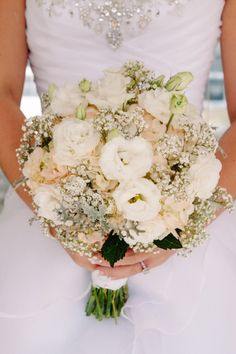 Wedding Flowers / Babys Breath / Hydrangeas / Bridal Bouquet /   Wedding Bouquet Ideas / Rustic Wedding / Peach, Coral and Grey Weddings