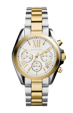 Michael Kors 'Bradshaw - Mini' Two-Tone Chronograph Bracelet Watch, 36mm (Nordstrom Exclusive) | Nordstrom