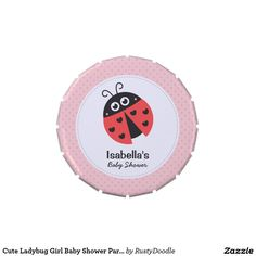 Cute Ladybug Girl Baby Shower Party Treats Jelly Belly Candy Tin