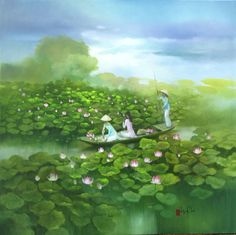 Lotus pond by Vietnamese Artist Dang Can