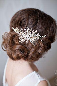 Купить позолоченный гребень с жемчугом (продан, выполню на заказ) - золотой, невеста, прическа невесты