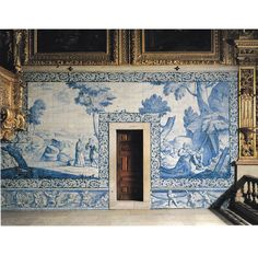Portugal, Jan Van Oort, Large Dutch tile panel showing hermits in a landscape, in the convent church of Madre-de-Deus in Lisbon, 1698 Blue And White China, Blue China, Delft Tiles, Blue Tiles, Tile Panels, Tile Murals, Portuguese Tiles, Bunt, Interior And Exterior