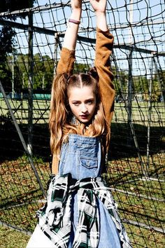 pigtails and overalls with flannel tied around waist? perfect! bows in the pigtails and have them curled super 50's