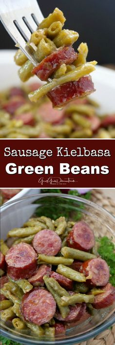 Sausage Kielbasa Green Beans are deliciously flavored and an easy side dish reci. - beilage Sausage Kielbasa Green Beans are deliciously flavored and an easy side dish reci Vegetable Side Dishes, Side Dishes Easy, Side Dish Recipes, Vegetable Recipes, Potato Recipes, Sprout Recipes, Keto Recipes, Beans Recipes, Keto Foods