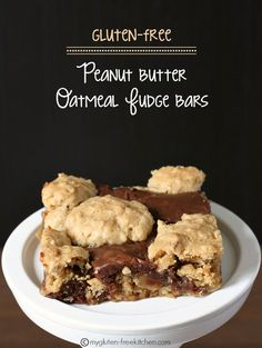 Gluten-free Peanut Butter Oatmeal Fudge Revel Bars - These are perfect for potlucks and parties.