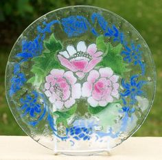 """10"""" Sydenstricker Art Glass Floral Plate - Pink Roses w/ Blue Accents offered by Ruby Lane Shop, Cousins Antiques."""